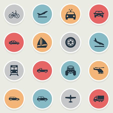 Elementen politie auto, fiets, metro en andere synoniemen auto, schip en jet. Vector illustratie Set van eenvoudige zending iconen.