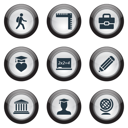Elementos Pen, Bolso, Pedagogo Sinónimos Pedagogo, Mochila Y Maleta. Ilustración vectorial Conjunto de iconos de educación simple. Foto de archivo - 83660609