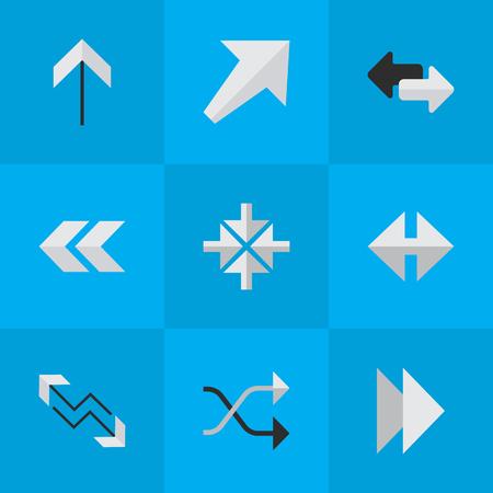 Elementen importeren, indicator, chaotisch en andere synoniemen Boom, innerlijk en zuidwest. Vector illustratie Set van eenvoudige Cursor pictogrammen. Stock Illustratie