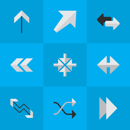 Elements Import, Indicator, Chaotically And Other Synonyms Boom, Inwardly And Southwest.  Vector Illustration Set Of Simple Cursor Icons. Illustration