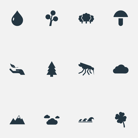 Elements Nature Protection, Pinnacle, Sea And Other Synonyms Meteorology, Plant And Gourmet.  Vector Illustration Set Of Simple Geo Icons. Stock Vector - 83660612