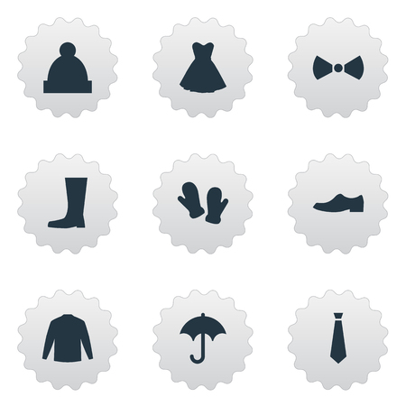 Elements Tie, Wellies, Elegance And Other Synonyms Shoes, Long And Pompom.  Vector Illustration Set Of Simple Wardrobe Icons. Illustration