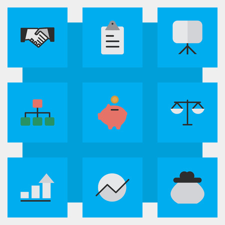 Elements Agreement, Diagram, Growing And Other Synonyms Board, Agreement And Growing.  Vector Illustration Set Of Simple Job Icons. Stock Vector - 83660615