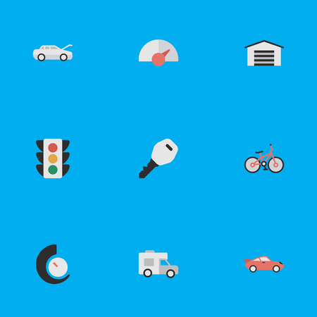 Elements Speed, Shed, Traffic Lights And Other Synonyms Sport, Lock And Chronometer.  Vector Illustration Set Of Simple Traffic Icons.