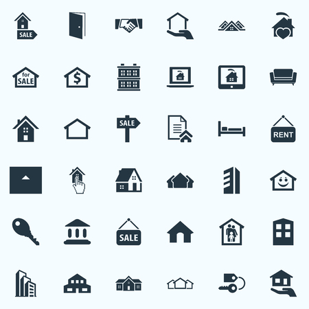 Elements Family In House, Key, Barn And Other Synonyms Offer, 3 And Three.  Vector Illustration Set Of Simple Property Icons.