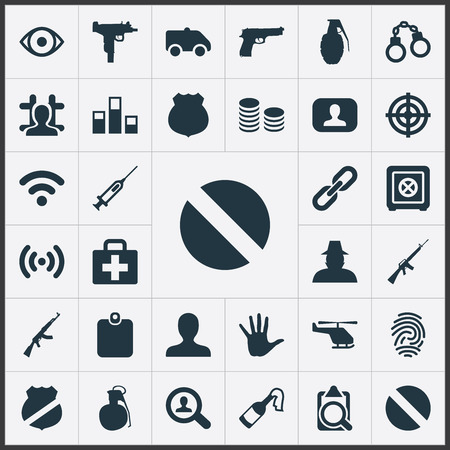 Elements Cash, Explode, Inspector And Other Synonyms Internet, Fingers And Handgun.  Vector Illustration Set Of Simple Police Icons. Illustration