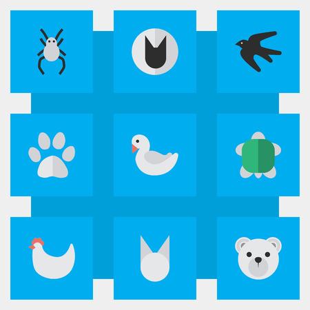 Léments Sparrow, Swan, Tomcat Et Autres Synonymes Tomcat, Mignon Et Tortue. Illustration vectorielle définie des icônes simples de zoo. Banque d'images - 83660643