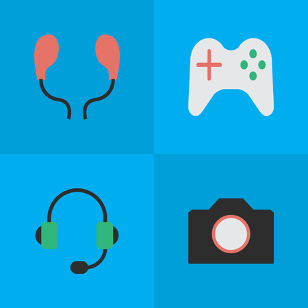 Elements Photo Apparatus, Microphone, Gamepad And Other Synonyms Apparatus, Earphone And Camera.  Vector Illustration Set Of Simple Gadget Icons. Illustration