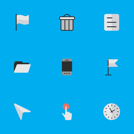 Elements Banner, Trashcan, File And Other Synonyms Smartphone, Bin And Phone.  Vector Illustration Set Of Simple Menu Icons. Illustration