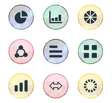Elements Pattern, Reverse Arrows, Segment And Other Synonyms Progress, Increase And Graph.  Vector Illustration Set Of Simple Graph Icons. Illustration