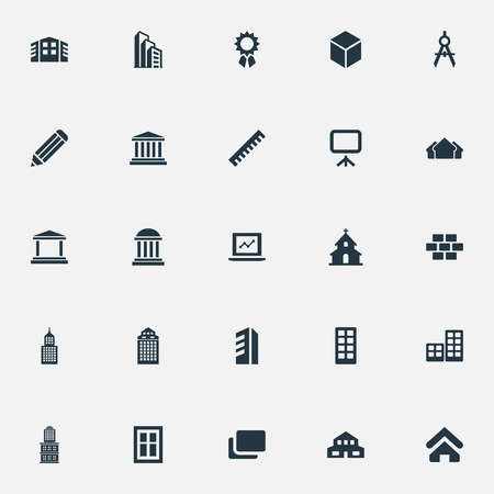 Elements Museum, Flat, Whiteboard And Other Synonyms Three, Pillars And Medal.  Vector Illustration Set Of Simple Architecture Icons. Illustration