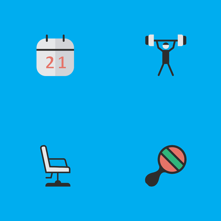 Elements Bodybuilding, Racket, Date Block And Other Synonyms Office, Calendar And Lifter.  Vector Illustration Set Of Simple Education Icons.