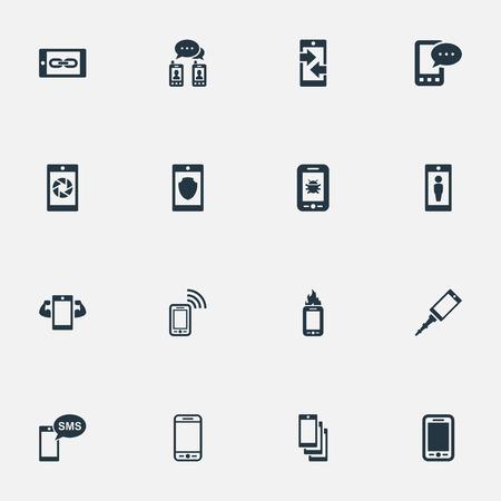Elementos Sms, cámara frontal, contacto y otra carcasa de sinónimos, actualización y teléfono inteligente. Ilustración vectorial Conjunto de iconos de teléfono simple. Foto de archivo - 83660666