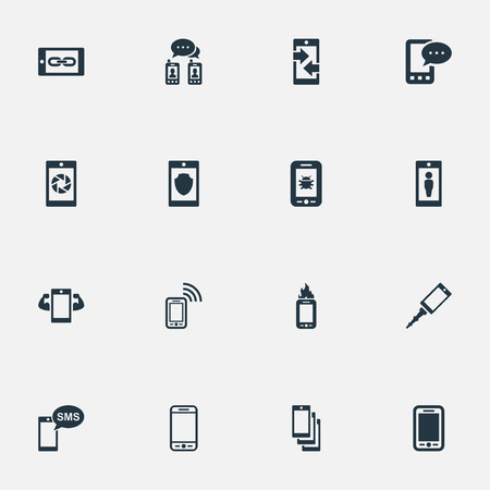 Elements Sms, Front Camera, Contact And Other Synonyms Casing, Upgrade And Smartphone.  Vector Illustration Set Of Simple Telephone Icons. Illustration