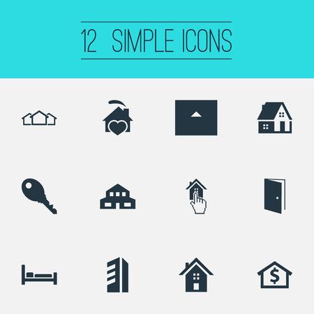 Elementen Eco-huizen, Bed, kapitaal en andere synoniemen Townhouse, schuur en 3. Vector illustratie Set van eenvoudige eigenschap pictogrammen.