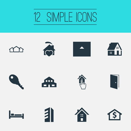 Elements Eco-Homes, Bed, Capital And Other Synonyms Townhouse, Barn And 3.  Vector Illustration Set Of Simple Property Icons.