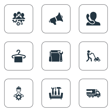 Elements Renovation Equipment, Horticulture, Engineer And Other Synonyms Support, Machine And Factory.  Vector Illustration Set Of Simple Help Icons. Illustration