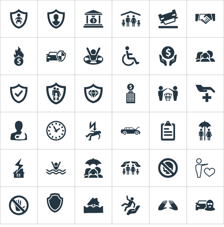 Elements Heart, Reliability, Bankroll And Other Synonyms Couple, Hand And Cripple.  Vector Illustration Set Of Simple Insurance Icons. Ilustração