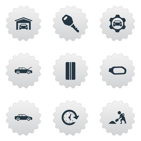 요소 잠금, 작성기, 사이드 미러 및 다른 동의어 고정, 자동차와 노동자입니다. 벡터 일러스트 레이 션 간단한 자동 아이콘의 집합입니다. 일러스트