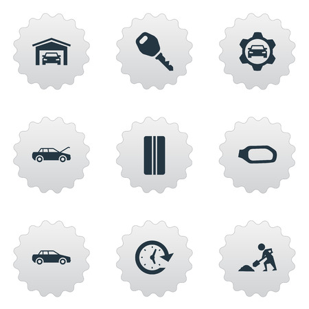 Elements Lock, Builder, Side Mirror And Other Synonyms Fixing, Car And Worker.  Vector Illustration Set Of Simple Auto Icons. Illusztráció