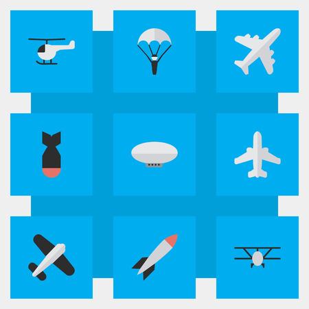 요소 로켓, 여객기, 풍선 및 다른 동의어 공예, 비행기 및 항공기입니다. 벡터 일러스트 레이 션 간단한 항공기 아이콘의 집합입니다. 스톡 콘텐츠 - 83745790