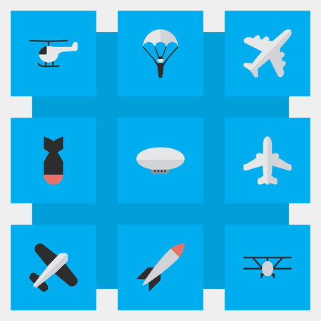 Elements Rocket, Airliner, Balloons And Other Synonyms Craft, Airplane And Aircraft.  Vector Illustration Set Of Simple Aircraft Icons. Illustration