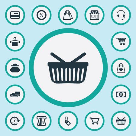 요소 판매, 신용 카드, 플라스틱 돈 및 기타 동의어 패키지, 열기 및 시간. 벡터 일러스트 레이 션 간단한 구매 아이콘의 집합입니다.