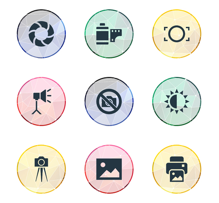 brilliancy: Elements Lens, Brilliance, Photograph And Other Synonyms Picture, Photographing And Lens.  Vector Illustration Set Of Simple Photographic Icons.