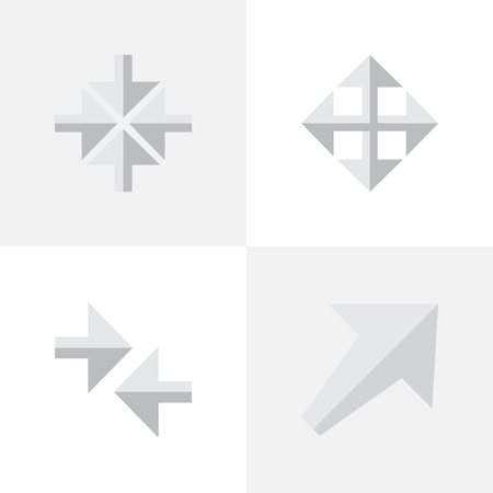 要素、広げる、南西および他の同義語は内心、矢印を広げると。 単純なインジケーター アイコンのベクター イラスト セット。