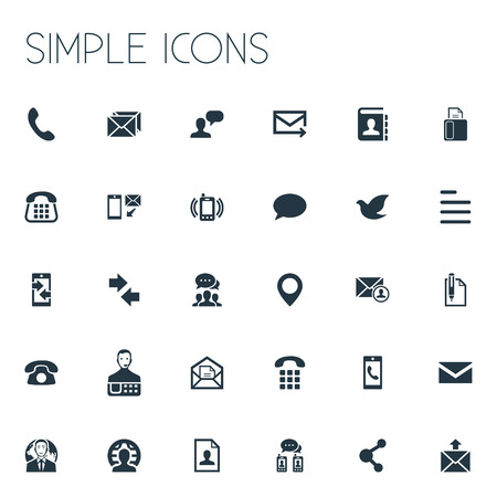 요소 핀, 이력서, New-come 편지 및 기타 동의어 핀, 집 및 팩스. 벡터 일러스트 레이 션 간단한 연락처 아이콘의 집합입니다.