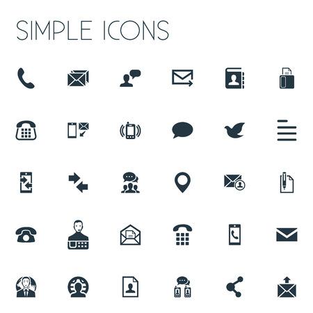 Elements Pin, Resume, New-Come Letter and Other Synoniemen Pin, Home en Fax. Vectorillustratiereeks Eenvoudige Contactpictogrammen. Stock Illustratie