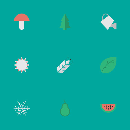 golden apple: Elements Melon, Fungus, Bailer And Other Synonyms Flake, Snow And Watermelon.  Vector Illustration Set Of Simple Horticulture Icons.
