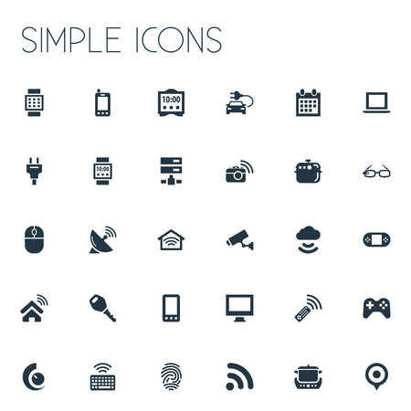 Elements Socket, Game Controller, Wireless Connection And Other Synonyms Lock, Internet And Keypad.  Vector Illustration Set Of Simple Internet Icons.