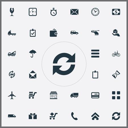 Elements Pay, Envelope, Home And Other Synoniemen Debit, Stopwatch And Message. Vectorillustratiereeks Eenvoudige Overgavepictogrammen.