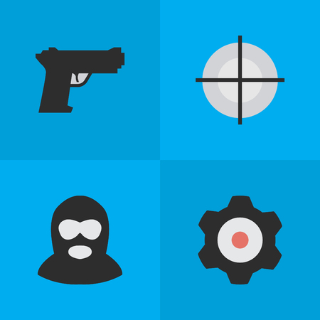 Elements Criminal, Cogwheel, Sniper And Other Synonyms Maleficent, Shot And Cogwheel.  Vector Illustration Set Of Simple Criminal Icons.