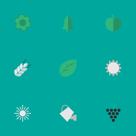 Elements Corn, Sheet, Flower And Other Synonyms Wood, Wheat And Tree.  Vector Illustration Set Of Simple Gardening Icons. Illustration