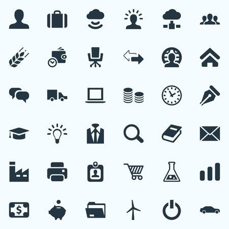 Illustration vectorielle définie des icônes simples de l'entreprise. Elements House Location, Suit, Stockage sans fil et autres synonymes Suit, Food And Location. Banque d'images - 83746238