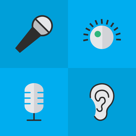 Vector Illustration Set Of Simple Music Icons. Elements Listen, Mike, Microphone And Other Synonyms Sound, Make And Hear.