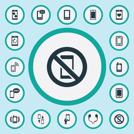 Vector Illustration Set Of Simple Telephone Icons. Elements Outgoing Calls, Forbidden, Downloading And Other Synonyms Telephone, Envelope And Mail. Illustration