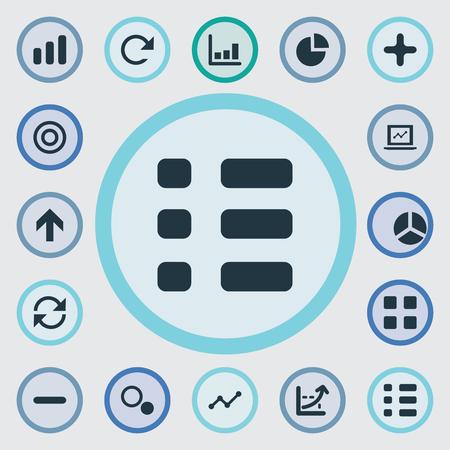 要素サージ、キューブ、メニューの他の同義語パイ サイクルとランダム化。 簡単な統計のアイコンのベクトル イラスト セット。