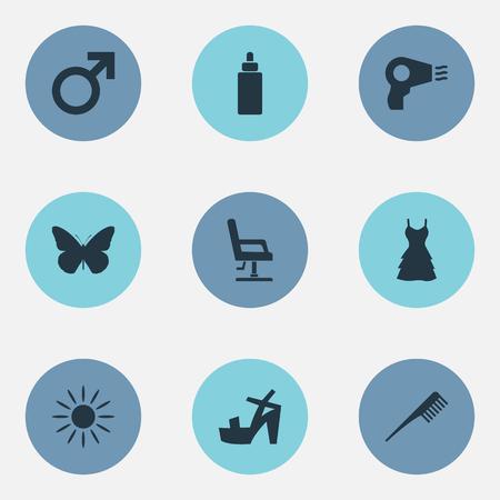 요소 나비, Sunroom, 불어 건조기 및 기타 동의어 굽다, 화장품 및 머리. 벡터 일러스트 레이 션 간단한 아름다움 아이콘의 집합입니다.