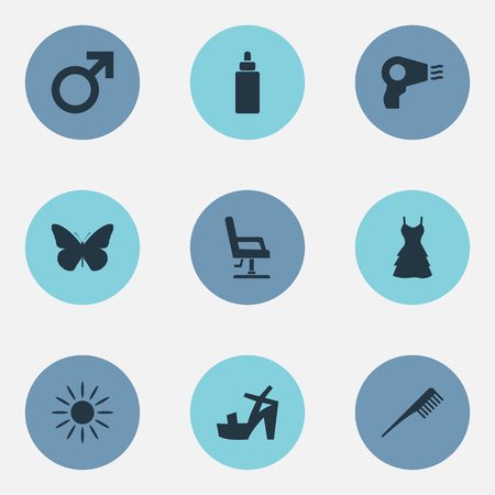 Elements Butterfly, Sunroom, Blow Dryer And Other Synonyms Heeled, Cosmetics And Hair.  Vector Illustration Set Of Simple Beauty Icons. Ilustração