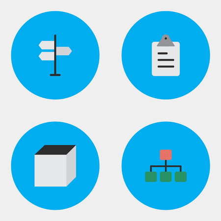Elements Structure, Clipboard, Square And Other Synonyms Clipboard, Graph And Decision.  Vector Illustration Set Of Simple Business Icons. 向量圖像