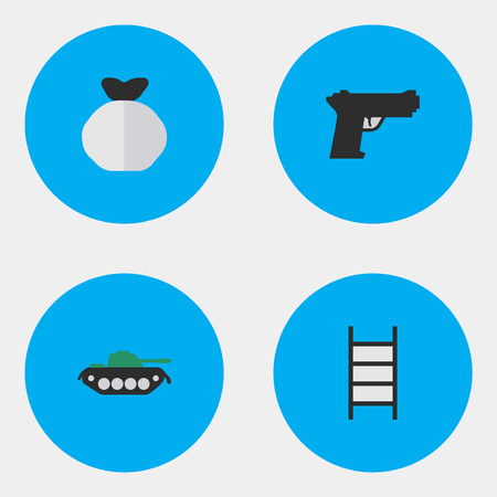 Elements Stairs, Weapon, Military And Other Synonyms Climbing, Gun And Shot.  Vector Illustration Set Of Simple Offense Icons. Illustration