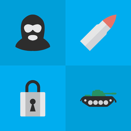 요소 샷, 폐쇄, 군사 및 기타 동의어 탱크, 군사 및 총입니다. 벡터 일러스트 레이 션 간단한 범죄 아이콘의 집합입니다.
