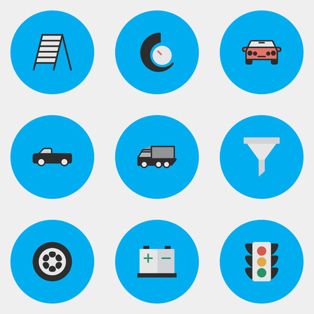 Elements Strainer, Wheel, Accumulator And Other Synonyms Counter, Suv And Traffic.  Vector Illustration Set Of Simple Shipping Icons.