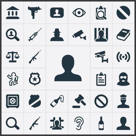 Vector illustratie Set van eenvoudige overtreding iconen. Elementen Veiligheid, Gerechtigheid, Geweld en Andere synoniemen Blik, Solider en Bibliotheek.