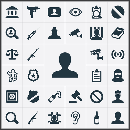 Vector Illustration Set Of Simple Offense Icons. Elements Safety, Justice, Violence And Other Synonyms Look, Solider And Library. Çizim