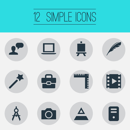 Vector Illustration Set Of Simple Design Icons. Elements Laptop, Photography, System Unit And Other Synonyms Project, Measurement And Ruler. Illustration
