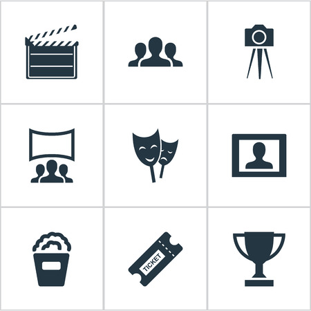 Vector Illustration Set Of Simple Cinema Icons. Elements Snack, Pass, Trophy And Other Synonyms Board, Performance And Montage. Illustration